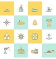Sea Port Icons Flat Line Set vector image vector image