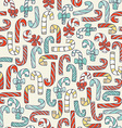 Seamless christmas pattern with hand drawn candy vector image