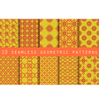 Set of 10 geometric seamless pattern vector image vector image
