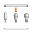 set of different led and fluorescent light bulbs vector image