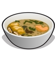 soup in a white bowl vector image vector image