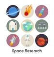 Space Research Icons Set with Shuttle and Planets vector image