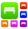 street bench set collection vector image vector image