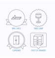 Table lamp cupboard and wall shelf icons vector image vector image