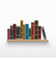 vintage books on a wooden bookshelf vector image vector image