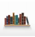 vintage books on a wooden bookshelf vector image vector image