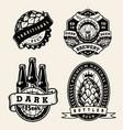 vintage brewing monochrome badges set vector image