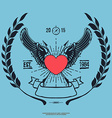 Vintage Hipster Logo Angel Heart with Crossed vector image vector image