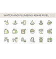 water drinking and plumbing icon set design vector image vector image