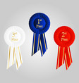 winner rosette set with ribbons vector image