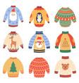 winter holidays jumpers cute xmas woollen vector image