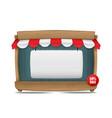 wooden market stall with awning and blank board vector image