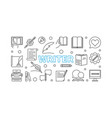 writer outline horizontal or vector image vector image