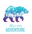 bear silhouette for t-shirt print with slogan vector image vector image