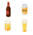 beer bottles glass icons set isometric style vector image vector image