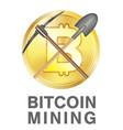 bitcoin mining logo with pickaxe and shovel vector image vector image