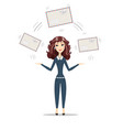 businesswoman holding big envelope vector image vector image