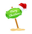 cartoon sign with festive text merry christmas vector image vector image