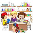 Children reading and studying in classroom vector image vector image