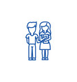 children schoolboy and girl with book line icon vector image vector image