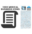 conclusion roll document icon with 1300 medical vector image vector image
