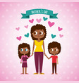cute afraomerican woman and kids mothers day vector image