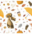 cute autumn seamless pattern with cosy hand drawn vector image