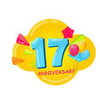 cute cartoon template 17 years anniversary vector image vector image