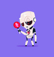 cute robot with red lightning low charge isolated vector image vector image