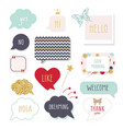 cute speech bubbles with hand written words girly vector image vector image