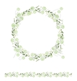 Detailed contour wreath and seamless pattern brush vector image vector image