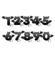 devil black numbers with wings for ui games vector image