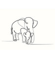 elephant with baby vector image vector image