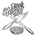 food meat steaksteak house logo knife and vector image vector image