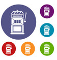 gamble machine icons set vector image vector image