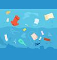 garbage in water dirty waste sea plastic bag vector image vector image