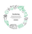 gardening doodle icons in circle form vector image vector image