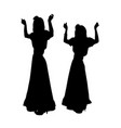 girls dancing in spanish costumes silhouette vector image