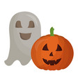 halloween pumpkin with ghost isolated icon vector image vector image