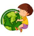 happy boy with earth icon vector image vector image