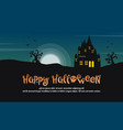 happy halloween with castle at night landscape vector image