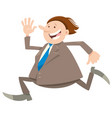 happy running businessman character vector image