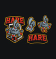 hare wrestling mascot sport logo vector image vector image