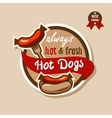 hot dogs emblem 2 vector image vector image