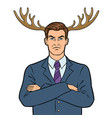 husband businessman with deer horns pop art vector image