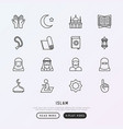 islam thin line icons set vector image