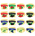 label of set fruit fresh food in colorful vector image