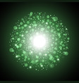Light circle with dots and sparks green color vector image