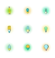 Lighting icons set pop-art style vector image vector image