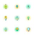 Lighting icons set pop-art style vector image vector image